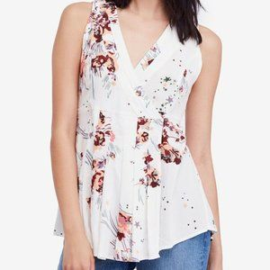 Free People White Floral Fitted Tank Blouse